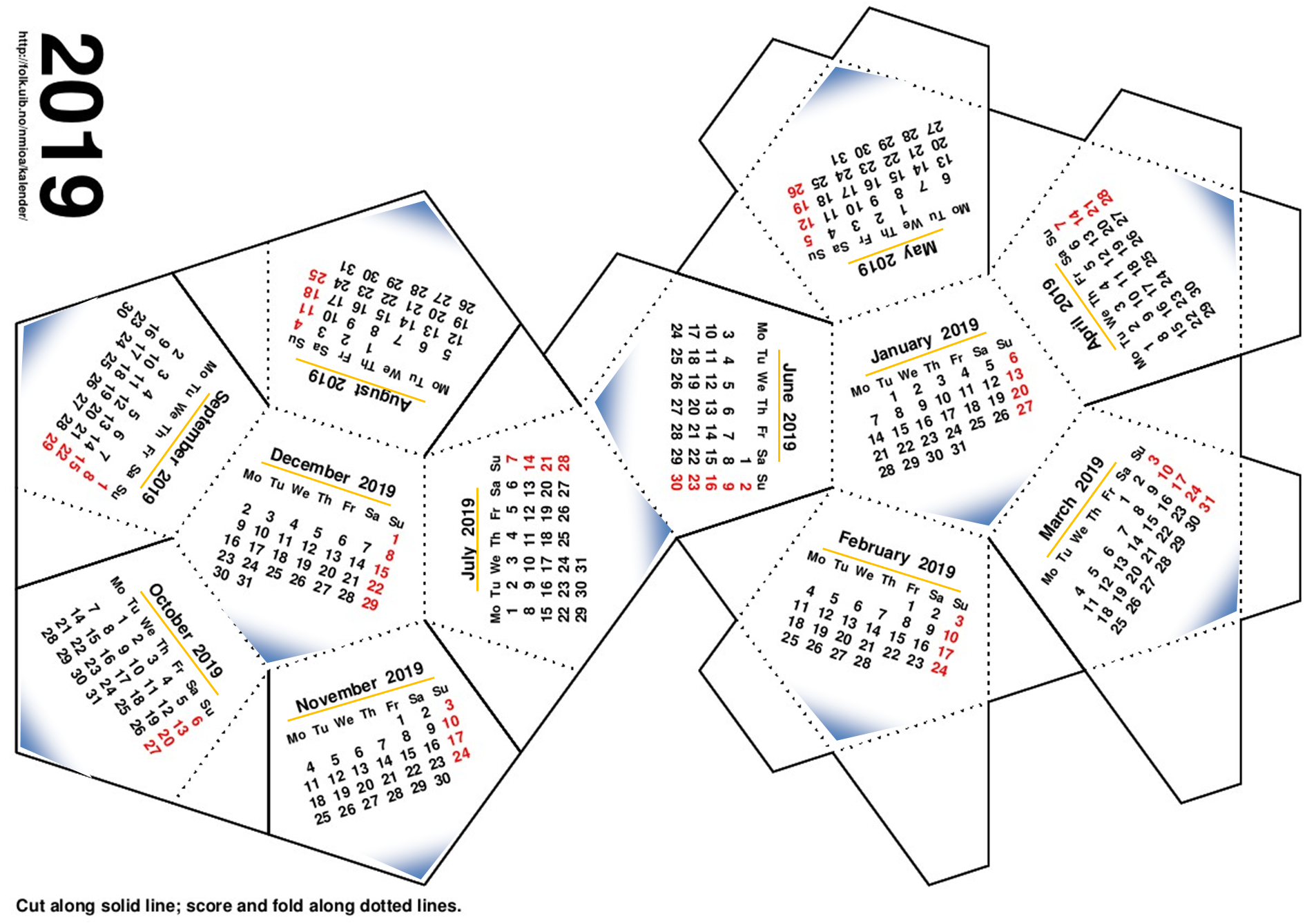 calendar 2019 dodecaedru
